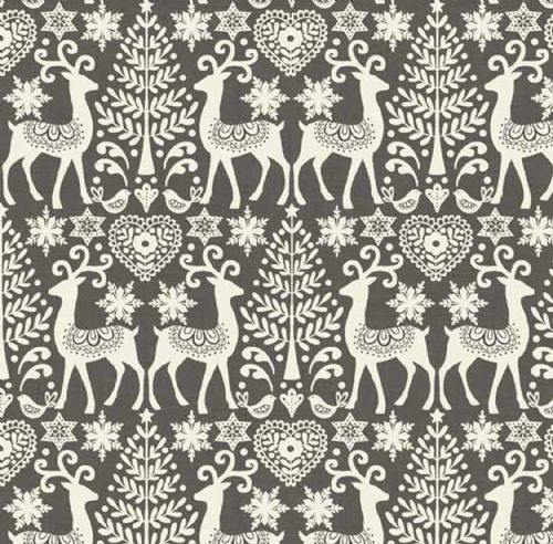 Makower Scandi Grey Reindeer Christmas Fabric